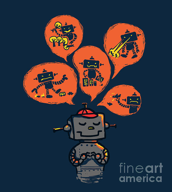 An Evil Robot Dream Print by Budi Satria Kwan