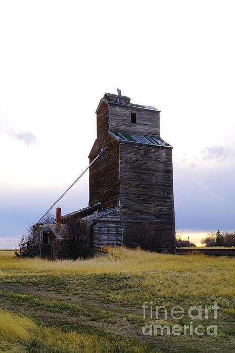 An Old Grain Elevator Off Highway Two In Montana Print by Jeff  Swan