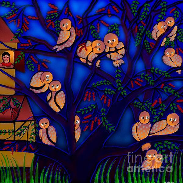 Ancestral Home Near The Tamarind Tree Print by Latha Gokuldas Panicker