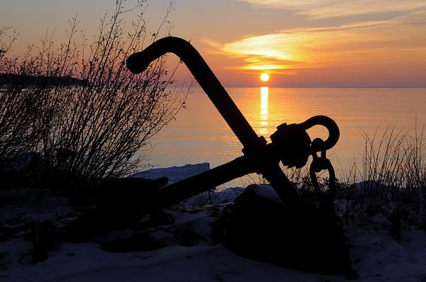 Anchor At Sunrise Print by Sandra Updyke