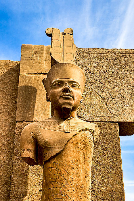 Ancient Face Of A Pharaoh At Karnak Print by Mark Tisdale