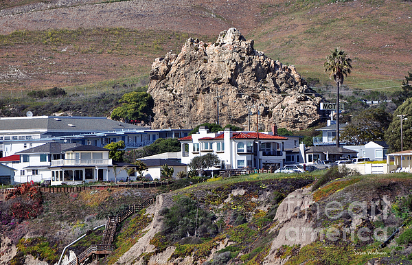 Ancient Sea Stack At Pismo Beach Above Motels Print by Susan Wiedmann