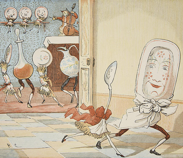 And The Dish Ran Away With The Spoon Print by Randolph Caldecott