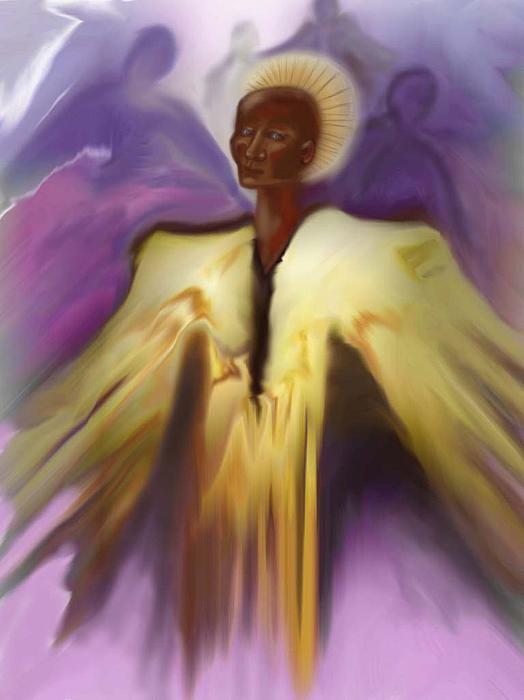 Angel And Guides Print by Linda Marcille
