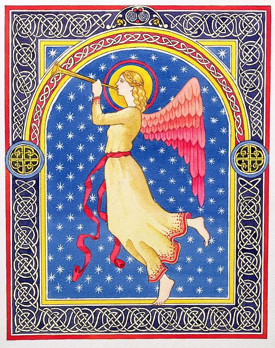 Angel Blowing Trumper Print by Lavinia Hamer