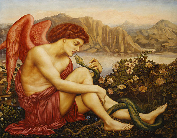 Angel With Serpent Print by Evelyn De Morgan