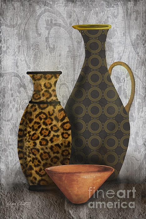 Animal Print Vase Still Life-b Print by Jean Plout