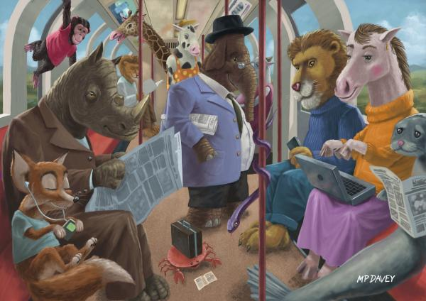 Animals On A Tube Train Subway Commute To Work Print by Martin Davey