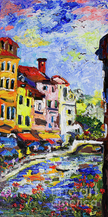Annecy France Canal And Bistros Impressionism Knife Oil Painting Print by Ginette Callaway