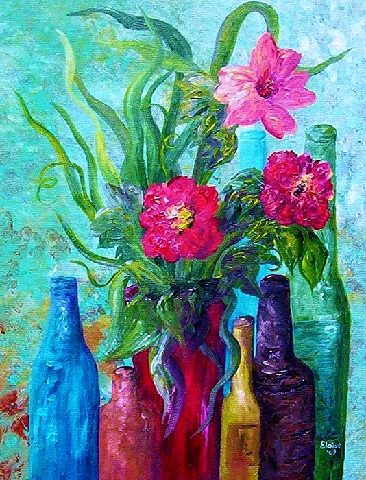 Antique Bottles And Flowers Print by Eloise Schneider