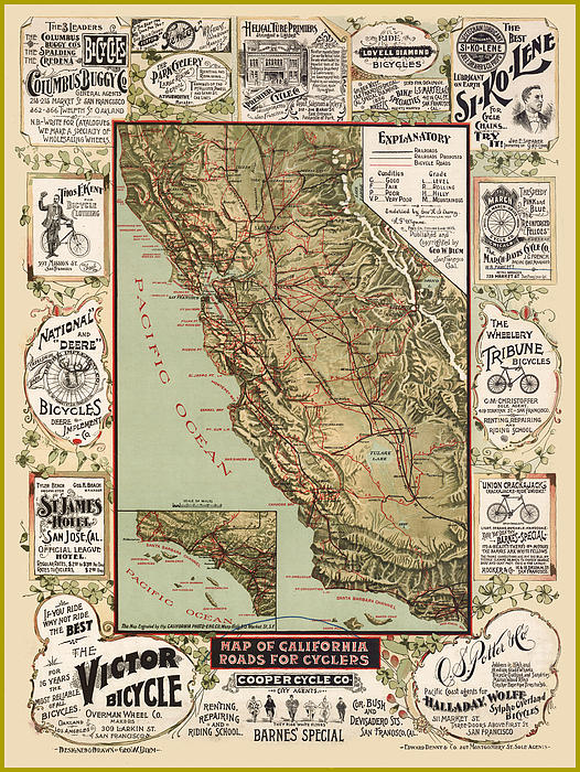 Antique California Bicycle Trails Print by Gary Grayson