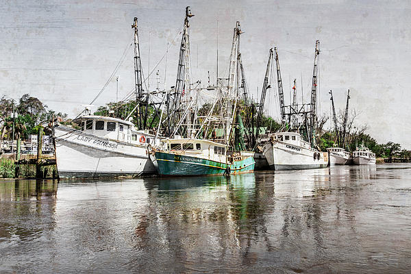 Antique Fishing Boats Print by Debra and Dave Vanderlaan