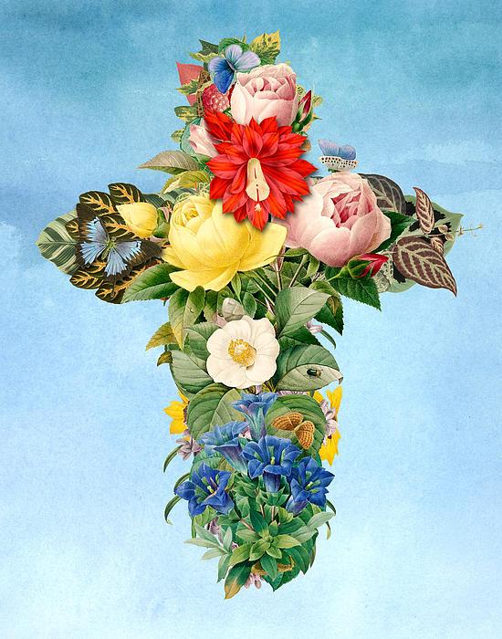 Antique Flower Cross Print by Gary Grayson