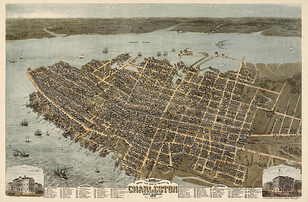 Blue Monocle - Antique Map of Charleston South Carolina by C. N. Drie - 1872
