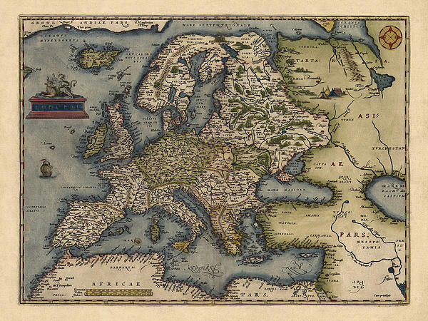 Antique Map Of Europe By Abraham Ortelius - 1570 Print by Blue Monocle
