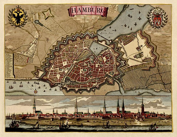 Antique Map Of Hamburg Germany By Pieter Schenk - Circa 1702 Print by Blue Monocle