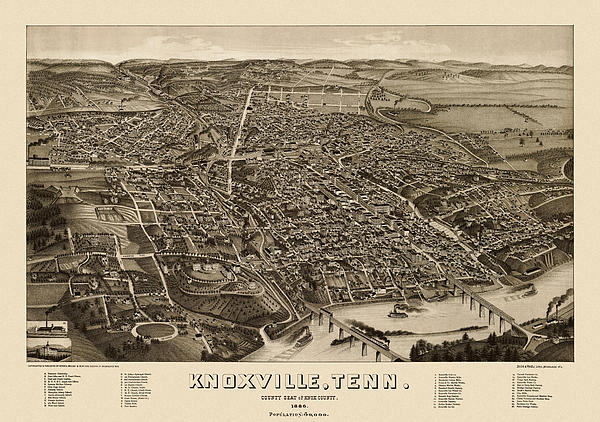 Antique Map Of Knoxville Tennessee By H. Wellge - 1886 Print by Blue Monocle