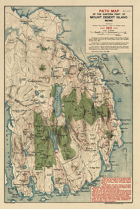 Antique Map Of Mount Desert Island - Acadia National Park - By Waldron Bates - 1911 Print by Blue Monocle