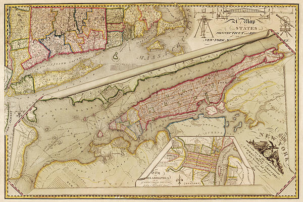 Antique Map Of New York City By John Randel - 1821 Print by Blue Monocle