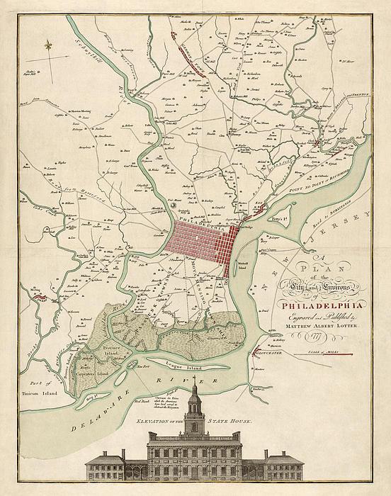 Antique Map Of Philadelphia By Matthaus Albrecht Lotter - 1777 Print by Blue Monocle