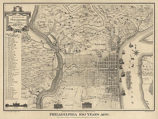 Antique Map Of Philadelphia By P. C. Varte - 1875 Print by Blue Monocle