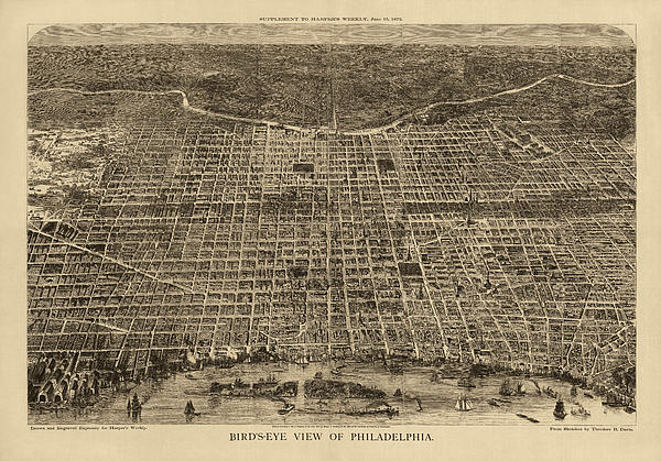 Antique Map Of Philadelphia By Theodore R. Davis - 1872 Print by Blue Monocle