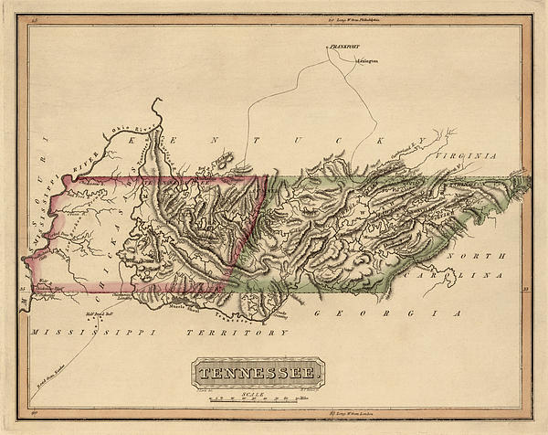 Antique Map Of Tennessee By Fielding Lucas - Circa 1817 Print by Blue Monocle