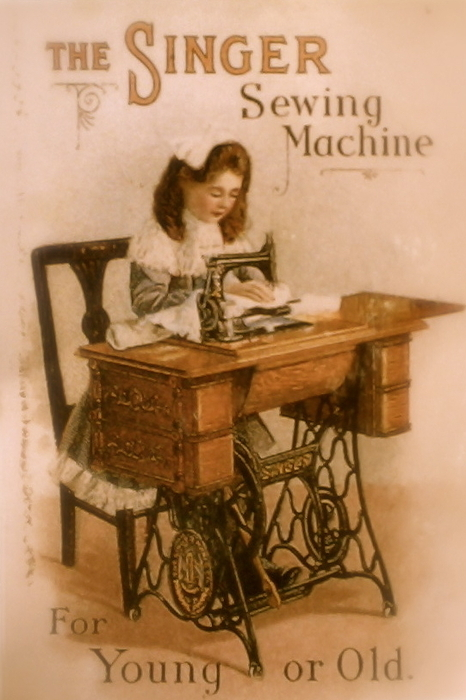 Antique Singer Sewing Machine Print by Julie Butterworth