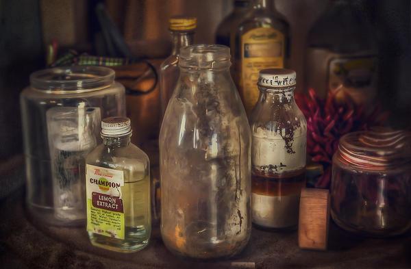 Antique Store Glass Bottles Print by Scott Norris