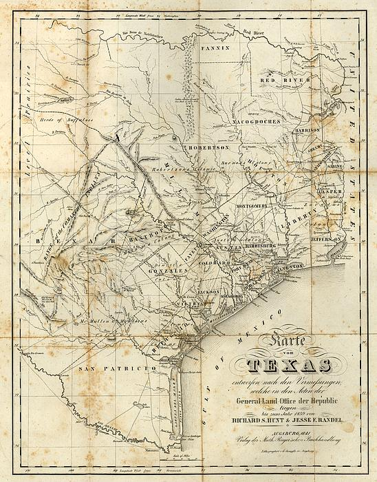 Antique Texas Map 1841 By Dan Sproul