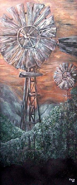 Eloise Schneider - Antique Windmills at Dusk