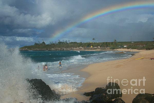 Anuenue - Aloha Mai E Hookipa Beach Maui Hawaii Print by Sharon Mau