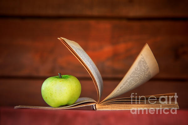 Apple And Book Print by Michal Bednarek