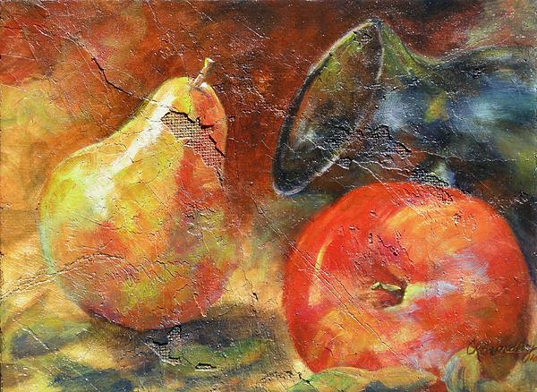 Apple And Pear Print by Chris Brandley