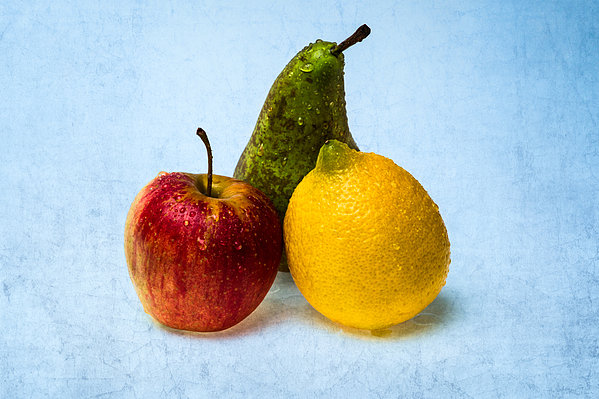 Apple - Lemon - Pear Print by Alexander Senin