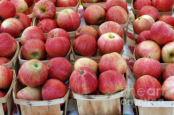 Apples In Small Baskets Print by Paul Velgos