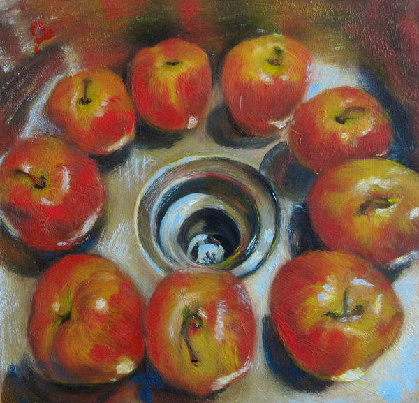 Apples In The Sink Print by Timi Johnson