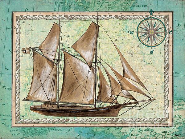 Aqua Maritime 2 Print by Debbie DeWitt