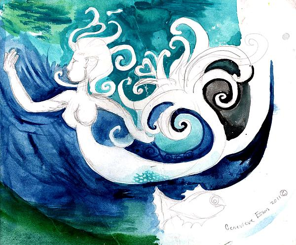 Aqua Mermaid Print by Genevieve Esson