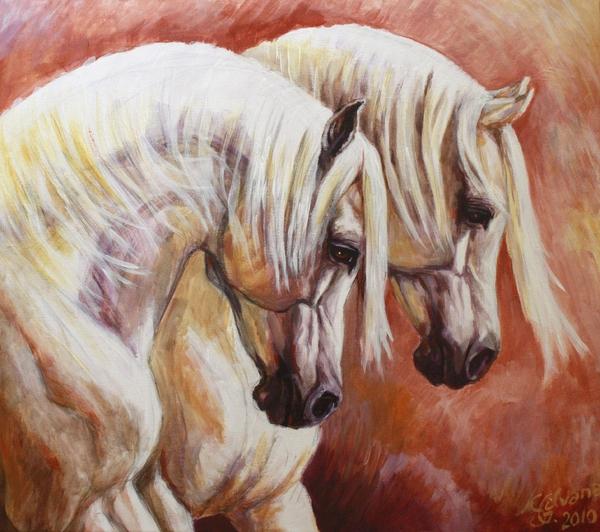 Arab Horses Print by Silvana Gabudean