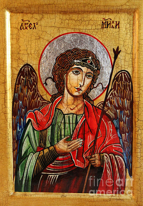 Archangel Michael Icon Print by Ryszard Sleczka