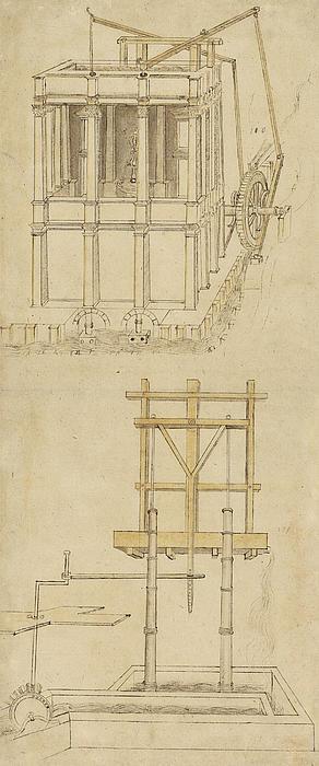 Architecture With Indoor Fountain From Atlantic Codex  Print by Leonardo Da Vinci