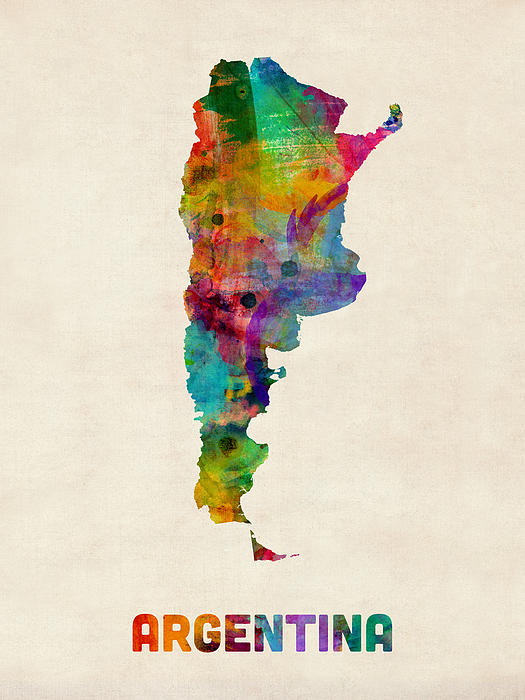 Argentina Watercolor Map Print by Michael Tompsett