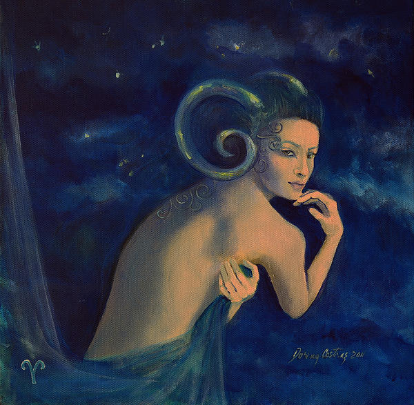 Aries From Zodiac Series Print by Dorina  Costras