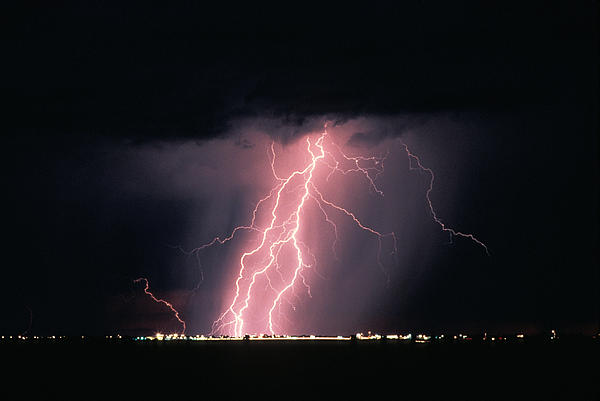 Arizona  Lightning Over City Lights Print by Anonymous