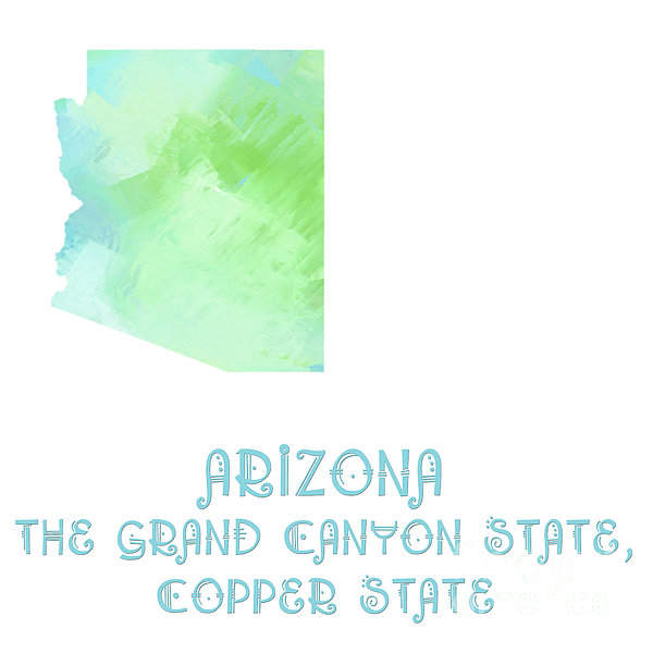 Arizona - The Grand Canyon State - Copper State - Map - State Phrase - Geology Print by Andee Design
