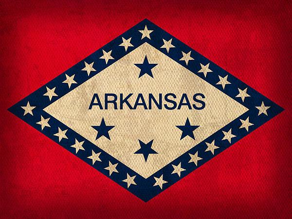 Arkansas State Flag Art On Worn Canvas Print by Design Turnpike