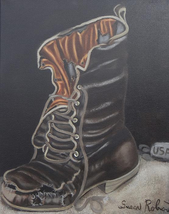 Army Boot Retired  Print by Susan Roberts