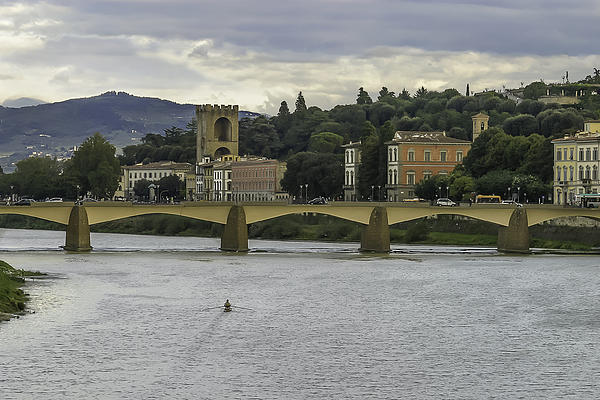 Arno River And Architecture In Florence Print by Karen Stephenson