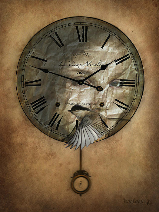 Around The Clock-time Is Flying Print by Barbara Orenya
